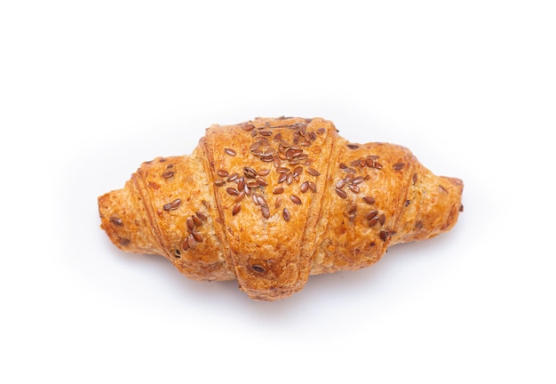 Croissant with sesame on top isolated