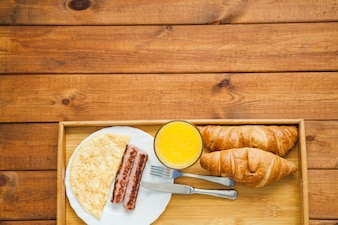 Croissants and healthy meal for breakfast