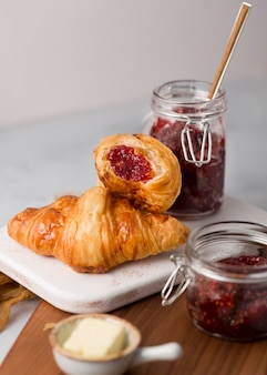 Croissants filled with wild berry jam