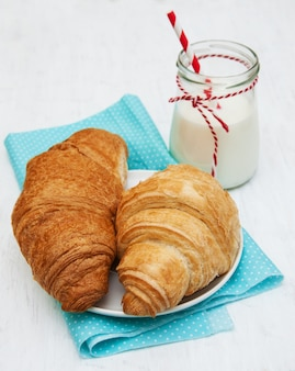 Croissants and a glass of milk