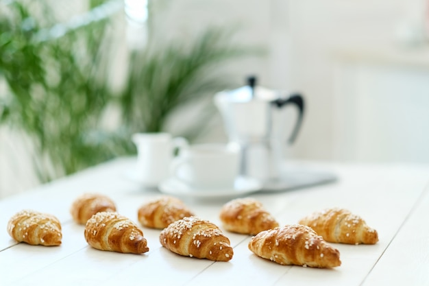 Croissants on a table