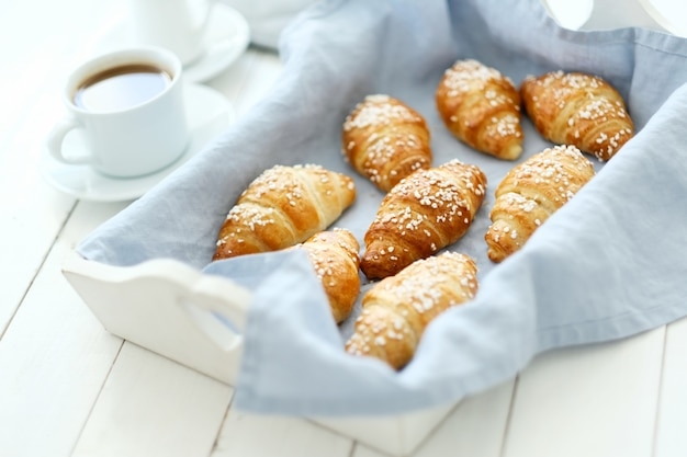 Croissants on a tray