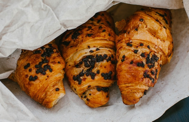 Croissants with chocolate in the paper