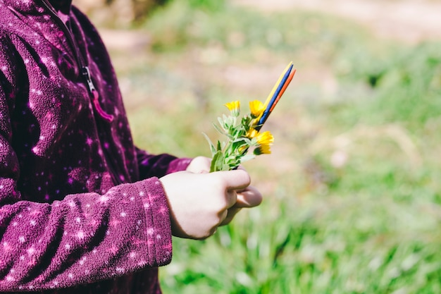 Crop girl with flowers and sticks in field