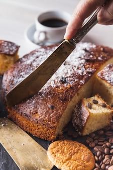 コーヒーの手作りケーキ