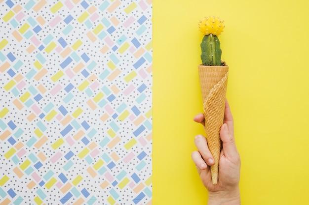 Crop hand holding cono di cialda con cactus
