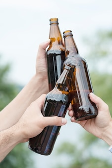 Crop hands clinking bottles in countryside