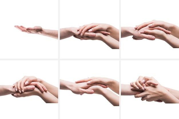 Crop hands in comforting gestures