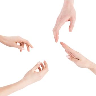 Crop hands gesturing