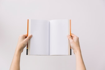 Crop hands holding opened book
