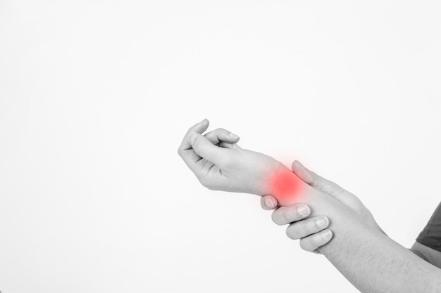 Crop hands with hurt wrist