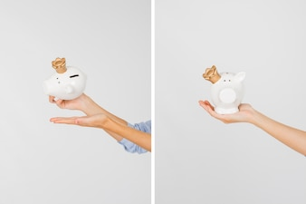 Crop hands with piggy bank