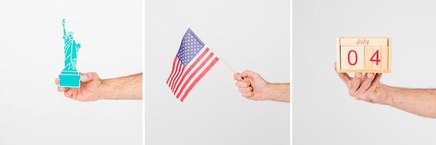 Crop hands with symbols of independence day