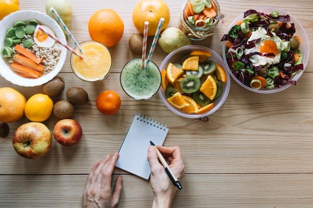 Обрезать руки, пишущие возле здоровой пищи