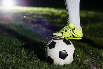 Crop leg on soccer ball