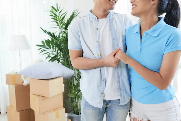 Crop loving couple excited with moving