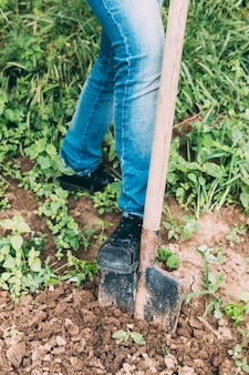 Crop man digging ground
