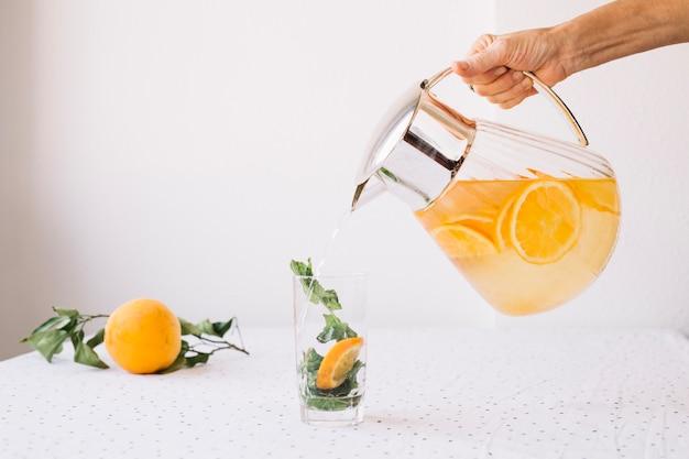Crop person pouring lemonade