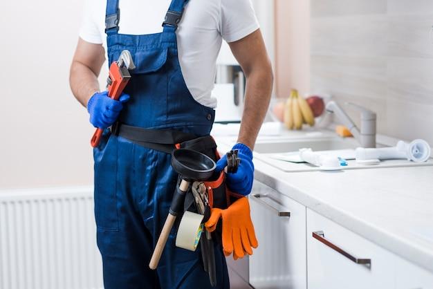 Crop plumber on kitchen