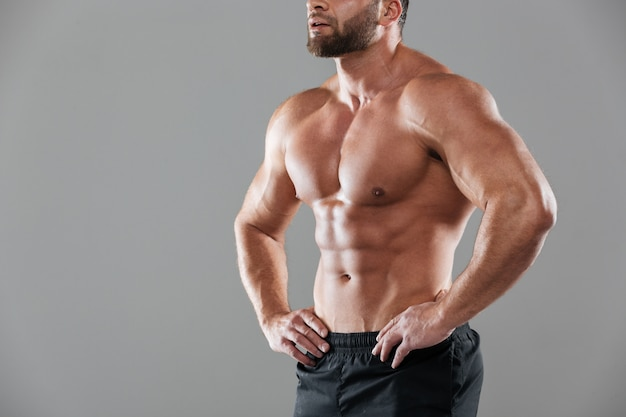 Cropped image of a muscular strong shirtless male bodybuilder