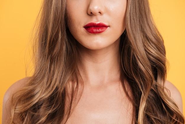 메이크업 여자의 얼굴의 자른 이미지