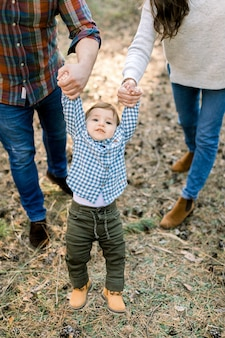 Cropped outdoor shot of happy family in stylish casual clothes, playing and having fun in autumn pine forest, holding hands of their lovely baby son, flying in the air