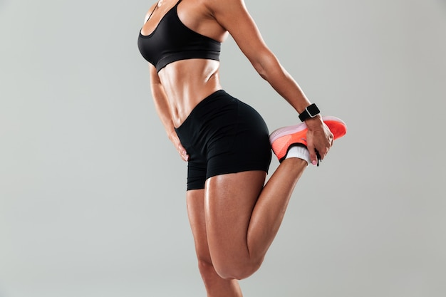 Cropped photo of amazing young sports woman