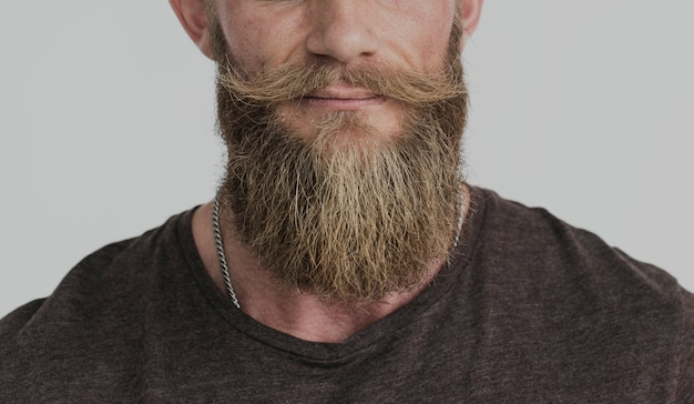 Cropped photo bearded guy casual portrait