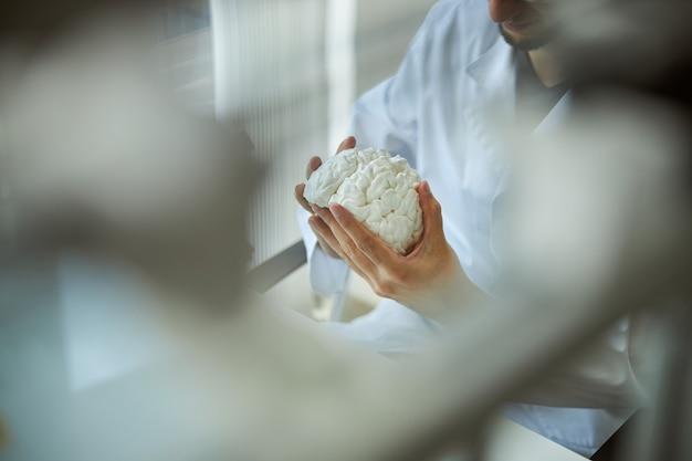 3d 프린트 된 뇌 모델을 면밀히 조사하는 실험실 코트에서 수염 난 남자의 자른 사진