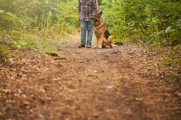 숲에서 시간을 보내는 남자와 그의 애완견의 자른 사진