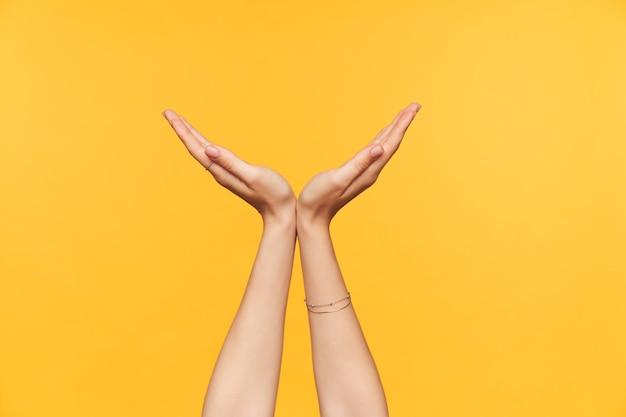 黄色の背景の上に立っている間、手のひらを持ち上げて半円に折りたたむ若い色白の女性のトリミングされた写真。ボディーランゲージとサインの概念