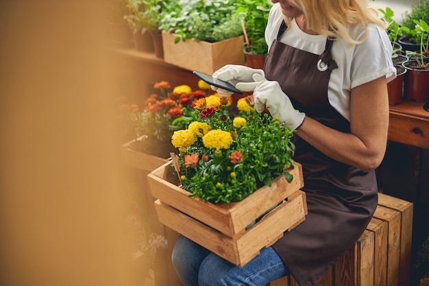 Cropped photo of a smiling blonde caucasian female florist photographing flowers in a wooden crate