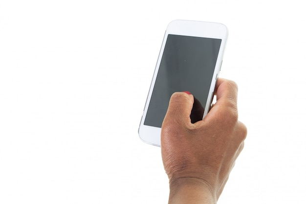 Cropped shot of black woman hands holding mobile phone with blank copy space screen for text message promotional content