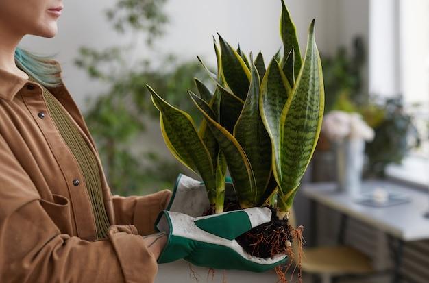 정원을 가꾸거나 꽃집에서 일하는 동안 알아볼 수 없는 젊은 여성이 화분에 심는 초상화, 복사 공간