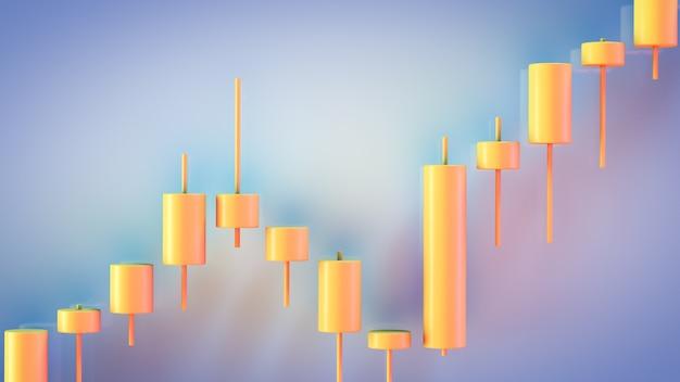 자른 증권 거래소 차트. 가격 변동성. 금융 시장 주제. 일본 양초보기