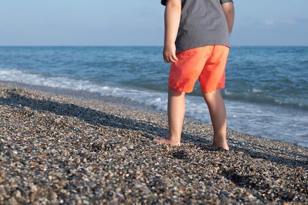 외로운 해변을 걷는 어린 소년의 보기를 잘립니다. 모래 해변에 서 있는 아이.