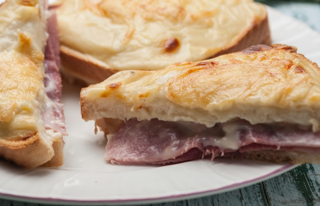 Croque-monsieur on a plate