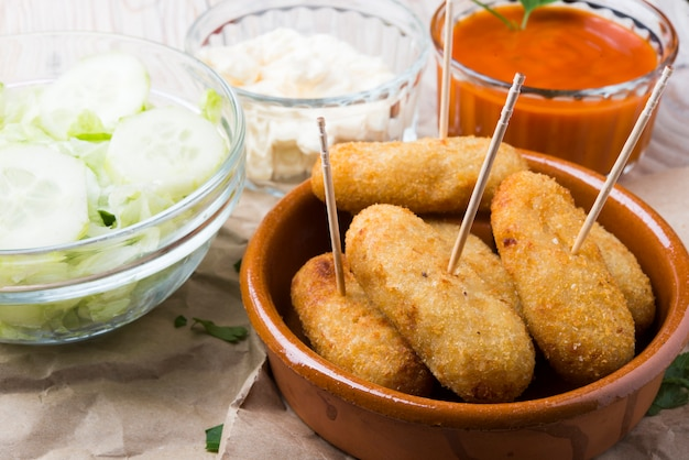 Croquettes on a bowl
