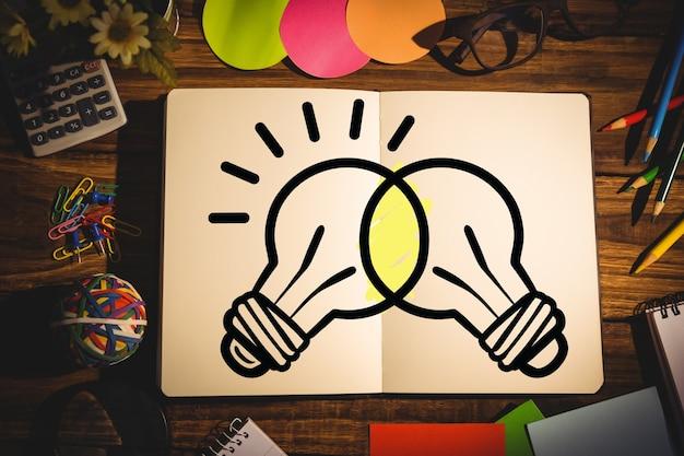 本の中でクロス電球