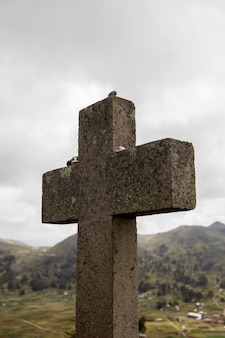 Cross at cerro calvario in copacabana, bolivia