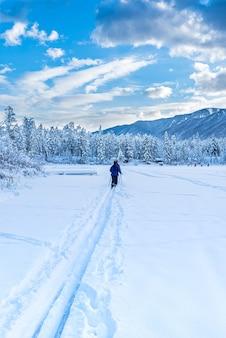 캐나다 인버미어 인근의 새로 얼어붙은 릴리안 호수에서 크로스 컨트리 스키를 즐기는 사람들