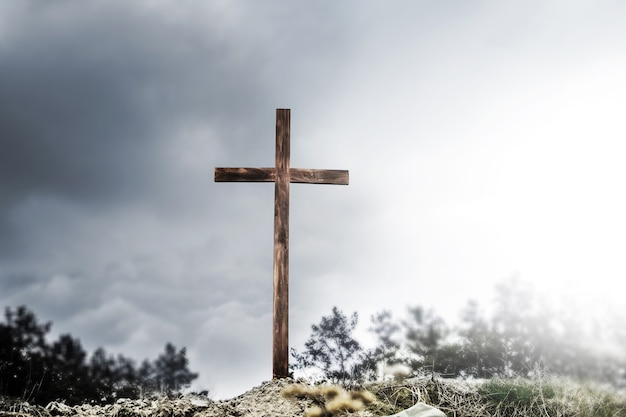 Cross on the hill. blank cross against the sky. true easter. hope in god