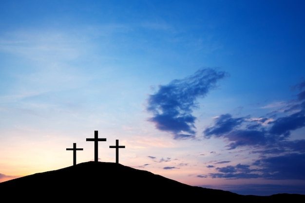 The cross on the hill, jesus christ of truth from the bible. easter holiday, religion. salvation of sins, sacrifice.