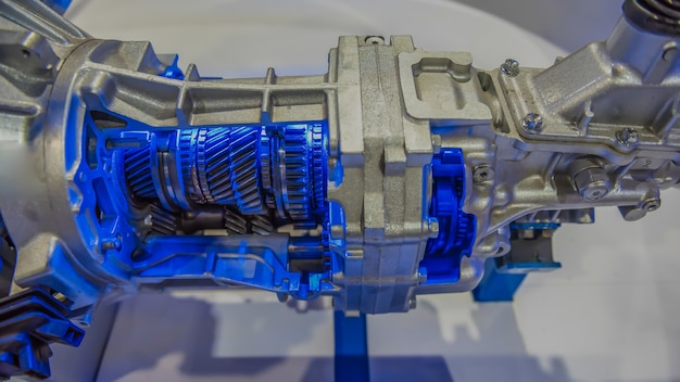 A cross section of manual transmission gear box.