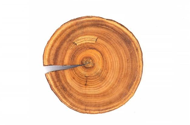 波状のパターンの亀裂とリングが森から切り落とされたカットされた木の幹スライスの断面