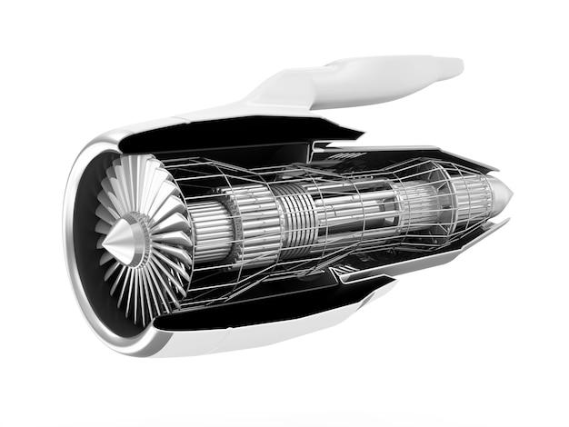 현대 비행기 제트 엔진 터빈의 단면