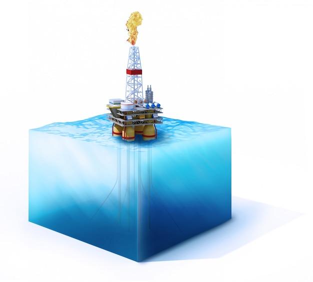 Поперечное сечение океана с нефтяной платформой