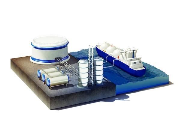 Поперечное сечение моря с нефтегазовым танкером в порту
