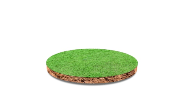 Cross section of round soil ground with grass isolated. 3d illustration, 3d rendering