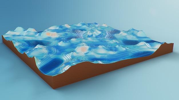 Поперечное сечение топографическая 3d карта с водой. контурные линии на топографической карте